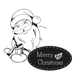 Christmas card with santa claus hands you a gift vector