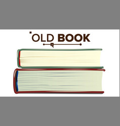 Closed old book set education literature vector