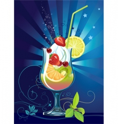 cocktail with fruits vector image