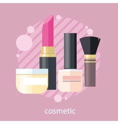 Cosmetic set flat design object vector
