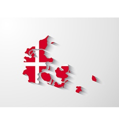 Denmark map with shadow effect vector