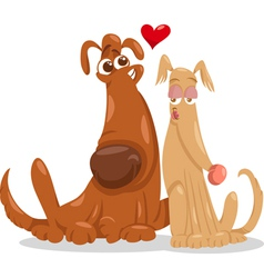 dogs in love cartoon vector image