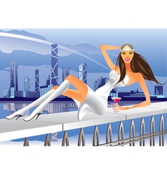Fashion model at a terrace party in the city vector image vector image