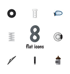 Flat component set of wheel windshield vector