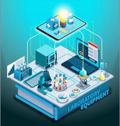 Laboratory equipment isometric composition vector
