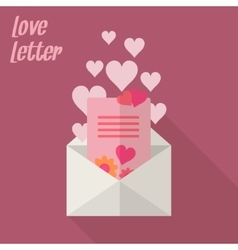 Love letter with card and hearts vector image