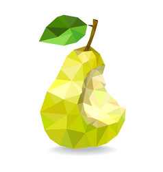 Low poly pear isolated on a white vector