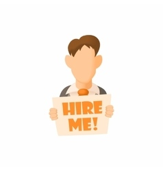 Male avatar with sign hire me icon cartoon style vector