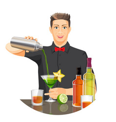 Male bartender making cocktail flat vector