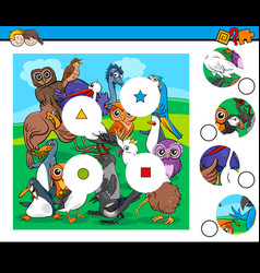 match pieces game with bird characters vector image vector image