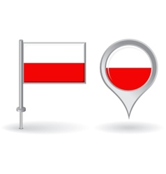 Polish pin icon and map pointer flag vector image
