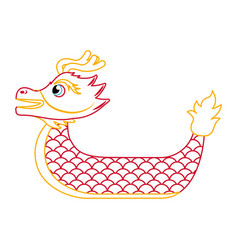 Red dragon boat cartoon chinese vector