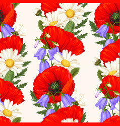 Red poppies seamless vector