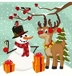 Reindeer snowman christmas vector