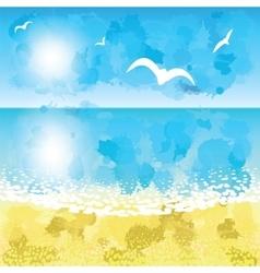 Sand beach sunset time vector image