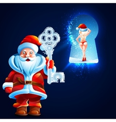 Santa claus holds key to the big ice castle vector