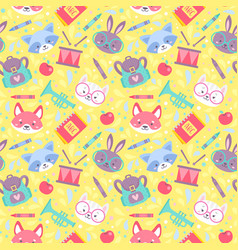 School seamless pattern for children vector