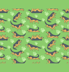 seamless pattern with german shepherds vector image vector image