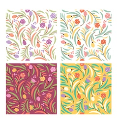 set od floral seamless patterns vector image vector image