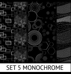 Set of 5 different monochrome seamless pattern vector