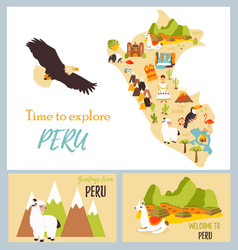 Set of tourist cards of peru with landmarks vector