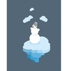 Snowman on floating island Christmas character on vector image
