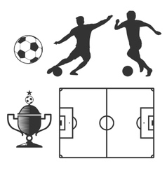 Soccer design elements in black isolated white vector