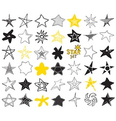 Star sketch Doodles set hand drawn isolated vector image vector image