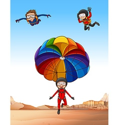 Three people doing skydiving vector