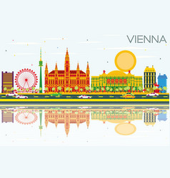 vienna skyline with color buildings blue sky and vector image