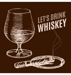 Whiskey Poster Hand Draw Sketch vector image vector image