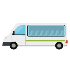 White van with a green stripe vehicle transport vector