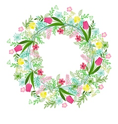 Wreath with herbs tulips and wild flowers isolated vector
