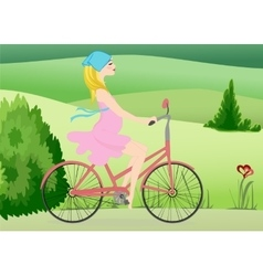 Pregnant woman rides a bike across the field vector