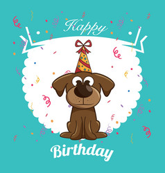 happy birthday dog cute design vector image
