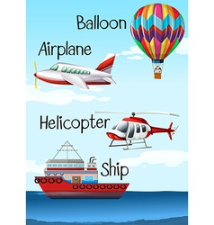 Different types of aircrafts and ship vector