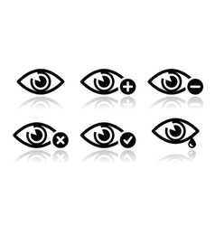 Eye sight icons set vector image