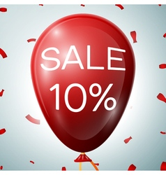 Red baloon with 10 percent discounts sale concept vector