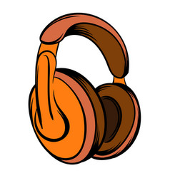 Orange headphones icon cartoon vector