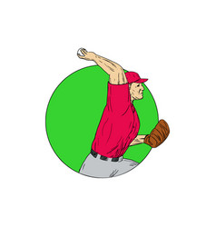 Baseball pitcher throwing ball circle drawing vector