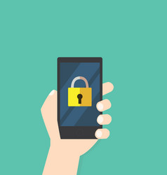Lock icon on mobile phone hand hold phone vector