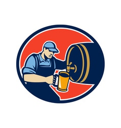 Brewer bartender pour beer pitcher barrel retro vector