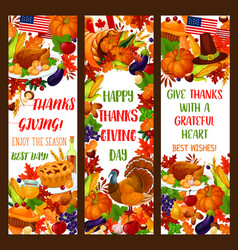 Thanksgiving banner set for autumn holiday design vector