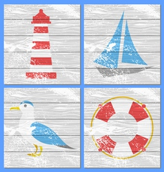Lighthouse yacht seagulls and lifebuoy vector