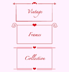 Vintage frames hearts weddind invitations cards vector
