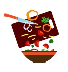 Preparing a fresh vegetable salad vector