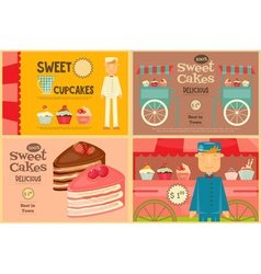 Set of cakes mini posters vector