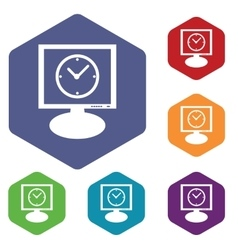 Computer time icon hexagon set vector