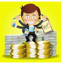 Man with many arms and dollar bills and coins vector