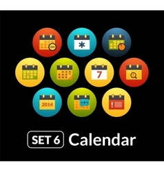 Flat icons set 6 - calendar collection vector